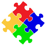 Royalty-free concept clipart picture of four red, blue, green and yellow puzzle pieces connected together.